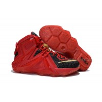 Cheap Nike LeBron 12 Elite Red Black Gold