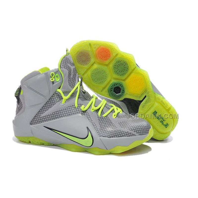 5389e4d59601a USD $81.00. Online Nike LeBron 12 P.S. Elite Grey Fluorescent Green ...