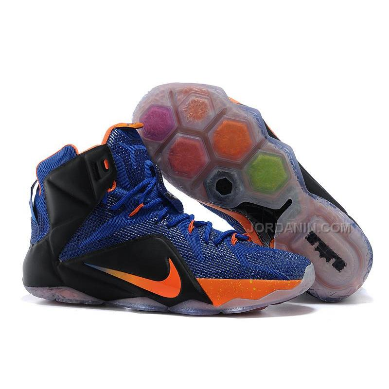 USD  86.00. Nike LeBron 12 Hyper Blue Black-Orange For Sale ... 10ca5ae2817d
