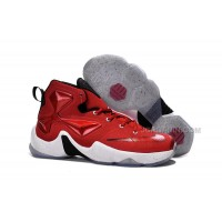 Nike Lebron 13 Gym Red Black White Men Basketball Shoes For Cheap Hot