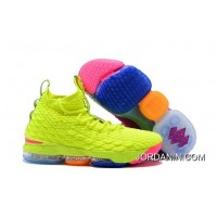 """What The Nike Lebron 15 """"Volt & Purple"""" Basketball Shoes Discount"""