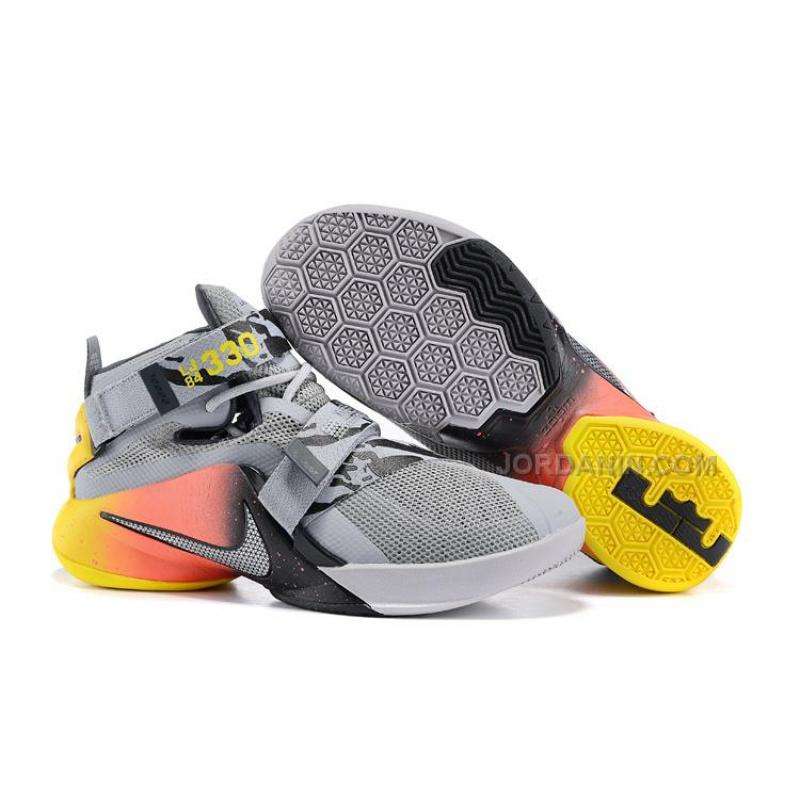 sports shoes 89eb7 1affe Cheap Nike LeBron Soldier 9 Grey Black Red Yellow