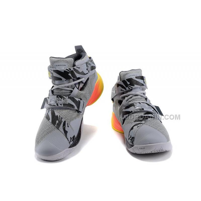 647a7a241c480 ... Cheap Nike LeBron Soldier 9 Grey Black Red Yellow ...