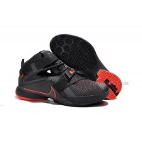 Nike LeBron Soldier 9 Black And Red Highlights Basketball Shoe Hot