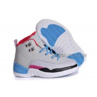 Nike Air Jordan 12 Kids Grey Blue White Black Shoes New Arrival