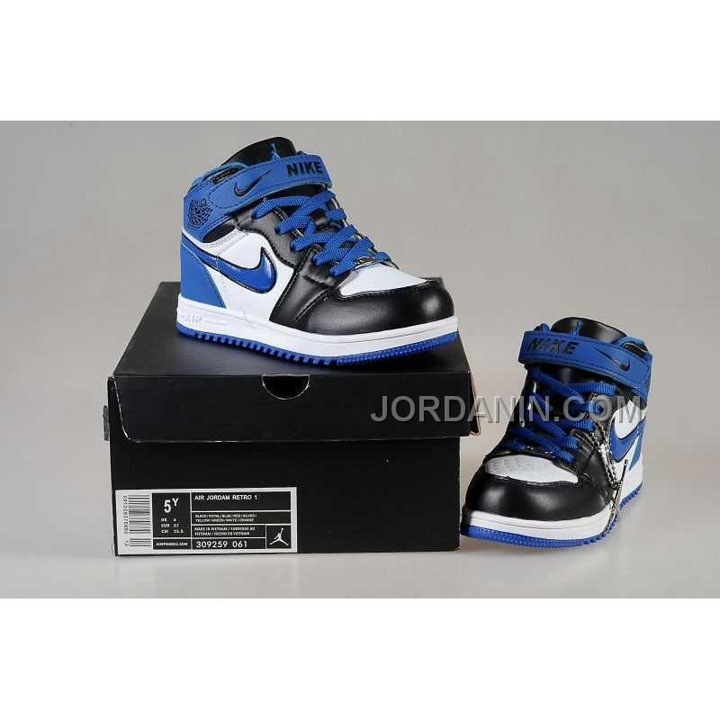 Nike Air Jordan 1 Kids White Black Blue Shoes New Arrival Price