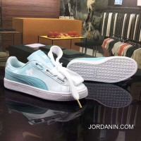 Women New Style Puma Bow Ribbon Patent 3 D Color Pale Moonlight