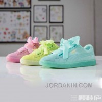 Puma BASKET 363073 Bow Tie Jelly Summer Mint Yellow Pink New Style
