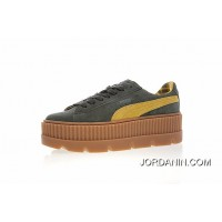Women Shoes Details Version Rihanna X Puma Fenty Suede Cleated Creeper Flatform Sneakers Green Yellow Standard 366267-03 Latest