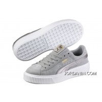 PUMA Suede Platform 2 Mens Womens Grey White For Sale