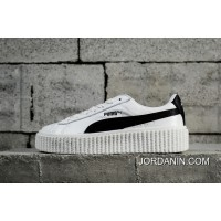 Channel Authentic Puma Rihanna Original Suede Creepers-Flatform Shoes White And Black 364462-01 For Online Sale