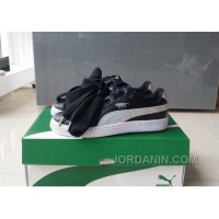 Puma Suede Basket Heart 36-40 Women Black Sliver Patent Free Shipping