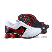 Men's Nike Shox OZ Shoes White/Black/Red Discount