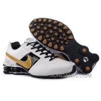 Men's Nike Shox OZ Shoes White/Black/Silver/Golden Cheap To Buy