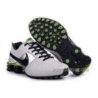 Men's Nike Shox OZ Shoes White/Black/Silver/Green Discount