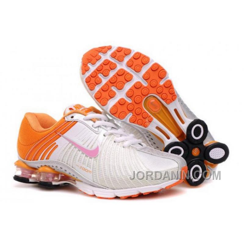 half off 76647 4b1b3 Kid's Nike Shox R4 Shoes White/Orange Authentic
