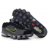Men's Nike Air Max Shox R4 Shoes Black/Dark Grey/Green Super Deals