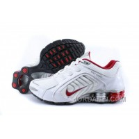 Men's Nike Shox R5 Shoes White/Grey/Red Free Shipping