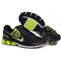 Men's Nike Shox R6 Shoes Black/Green/White Lastest