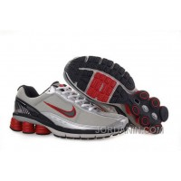 Men's Nike Shox R6 Shoes Grey/Silver/Black/Red Online
