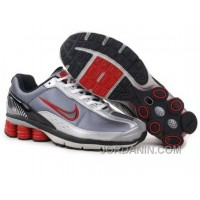 Men's Nike Shox R6 Shoes Grey/White/Black/Red Lastest
