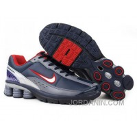 Men's Nike Shox R6 Shoes Navy/Grey/White/Red Discount