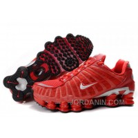 Men's Nike Shox TL Shoes Gym Red/Silver Discount
