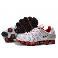 Men's Nike Shox TL Shoes White/Red/Silver Discount