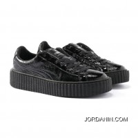 Mens PUMA BY RIHANNA CREEPER CRACKED LEATHER Puma Black-Puma Black-Puma Black Authentic