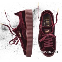 New Release Puma By Rihanna Suede Creepers Burgundy Mens Womens Shoes