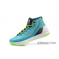 Hotsale Under Armour Curry Three Blue Green New Mens Shoes Cheap To Buy