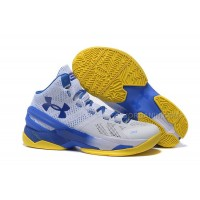 Under Armour Curry Two White Blue Yellow Free Shipping
