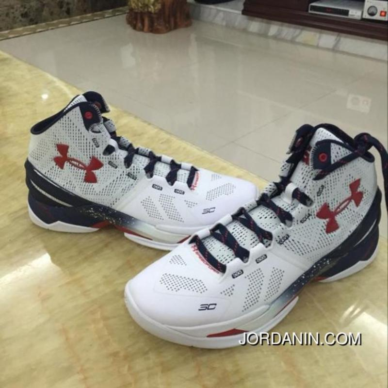 "d82ce776c15 ... ""USA"" Under Armour Curry 2 White-Red Navy Blue Sale Super Deals  "" ..."