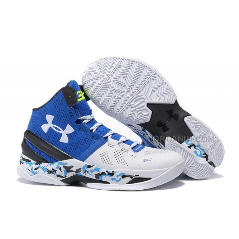 """4fcb91fa40b8 New Under Armour Curry 2 """"Camo"""" White Blue Black Shoes For Sale ..."""