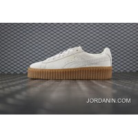 Free Shipping Puma Suede Creepers Rihanna Early Generation To Be Version Rice White Wheat Color Flatform Shoes Bottom Shoes SKU 361005 06 Women Shoes