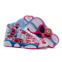 "Girls Air Jordan 13 GS ""Floral"" White Pink Blue Womens For Sale"