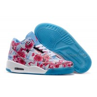 "2015 Air Jordan 3 GS ""Flower Print"" White Blue Girls Size New For Sale"