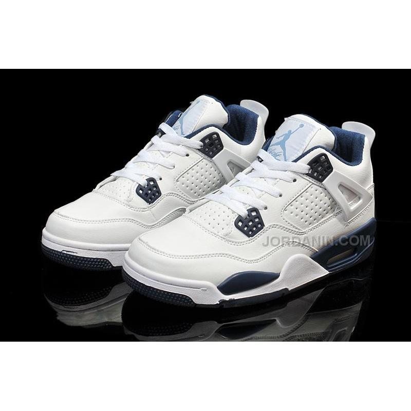 reputable site f7dc7 7c3d3 ... Cheap Air Jordan 4 Girls White Legend Blue-Midnight Navy For Sale New  Arrival ...