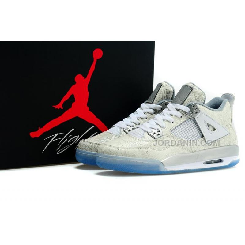 "fc0f73e30b76 ... Buy Cheap Air Jordan 4 Girls ""Laser"" White Chrome-Metallic Silver ..."