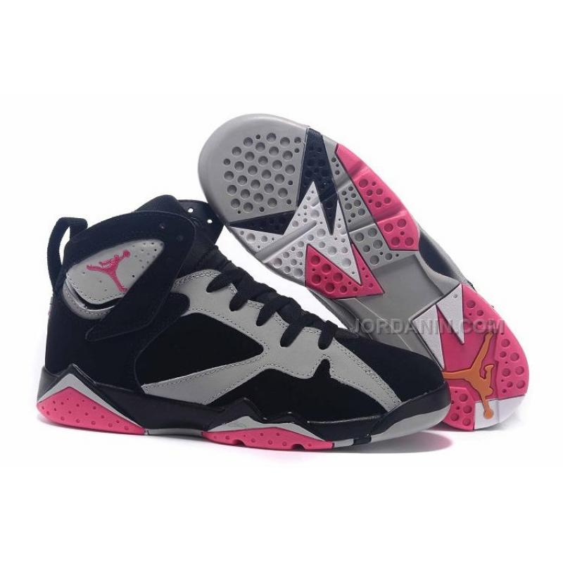 "447d3fe33a2 Air Jordan 7 GS ""Fuchsia Flash"" Black Sport Fuchsia Pink-Grey Girls ..."