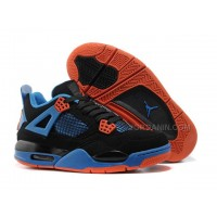 Discount Nike Air Jordan 4 Womens Basketball Shoes Black/Blue/Orange