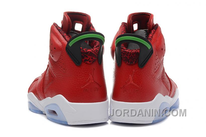 "9374c8e531 Air Jordans 6 Retro ""MVP History Of Jordan"" Red Leather Green For ..."