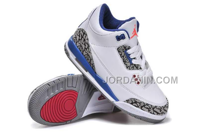 innovative design 48fc7 dfea5 For Sale Nike Air Jordan 3 Kids White Blue Red Shoes