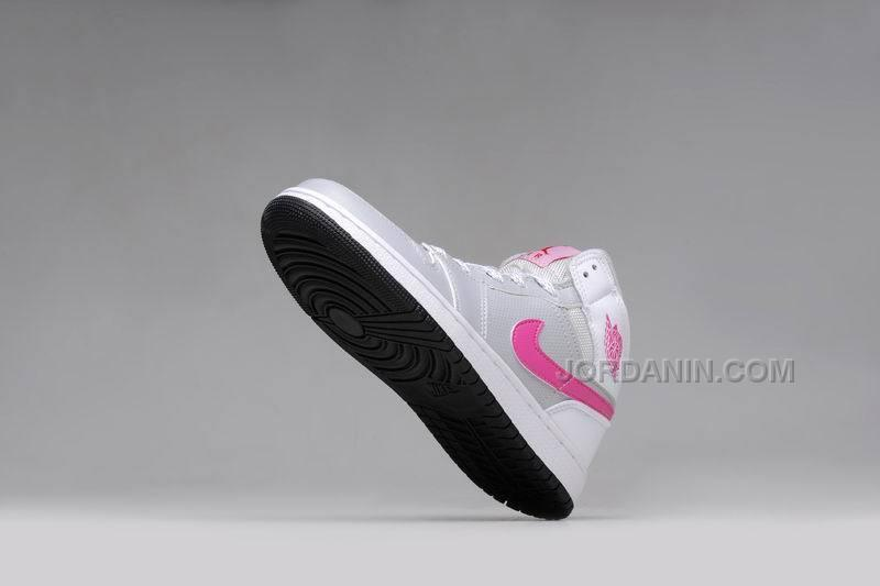 7b4ad199375710 Girls Air Jordan 1 Grey Pink White Shoes For Sale Hot