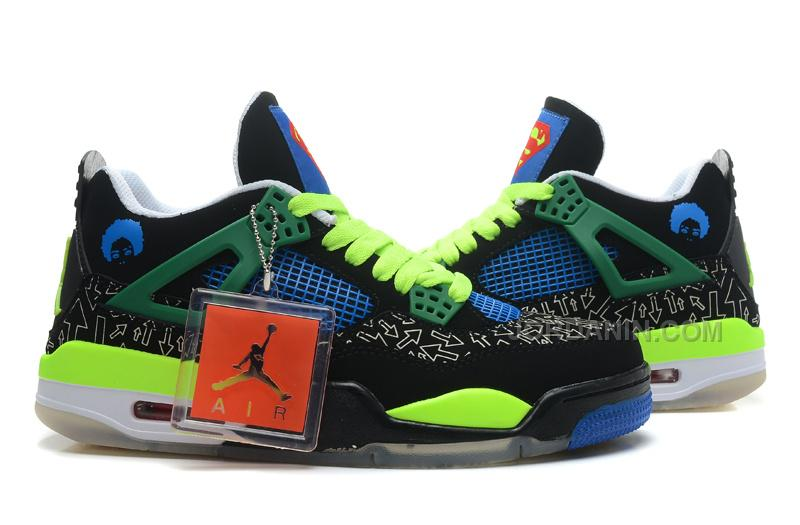 "e5428a2aae73 ... Air Jordans 4 Retro Doernbecher ""Superman"" BlackOld Royal-Electric  Green- ..."