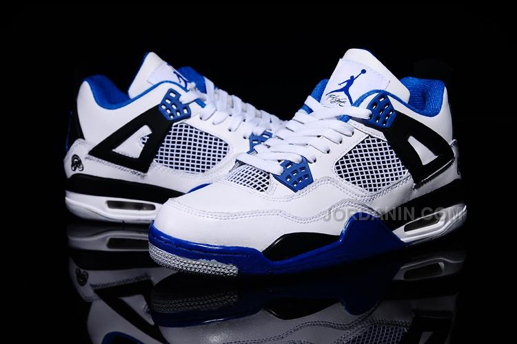 Air Jordans 4 Retro White Black Blue Shoes For Sale Hot