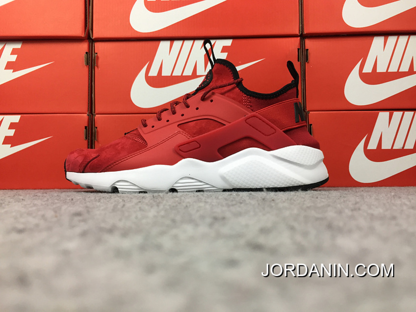 762f74aa23b2 Super Deals Nike Air Huarache 4 Texture Pig Leather Series Ultra Id  Customized White Red 829669