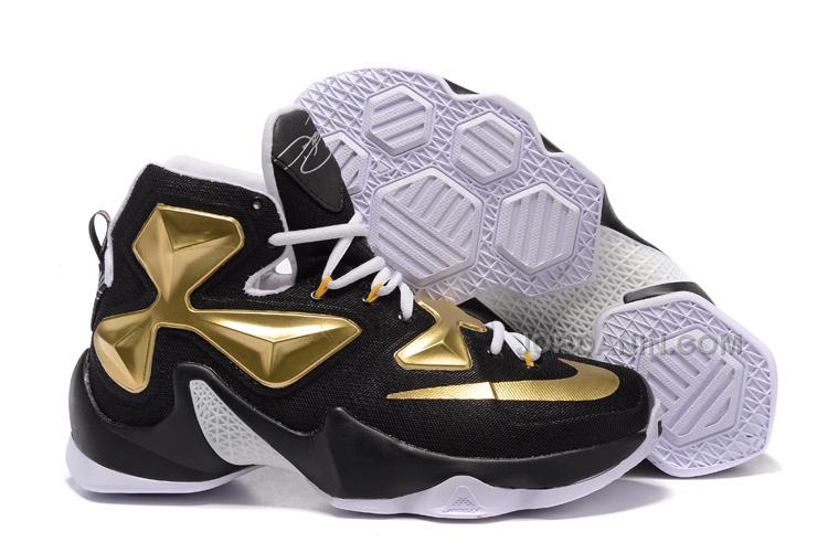 41495d17c1f508 Nike LeBron 13 Black Gold White Sale
