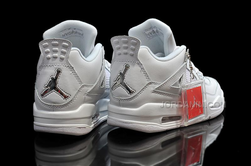 80bad632479c Cheap Air Jordan 4 Girls All White Metallic Silver For Sale Womens ...